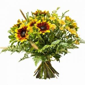 זר פרחים חמניות כפרי